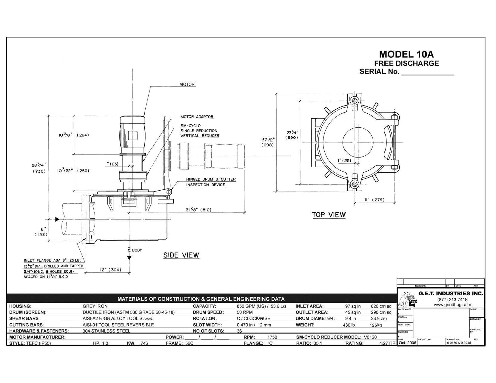 data drawing for Model 10A