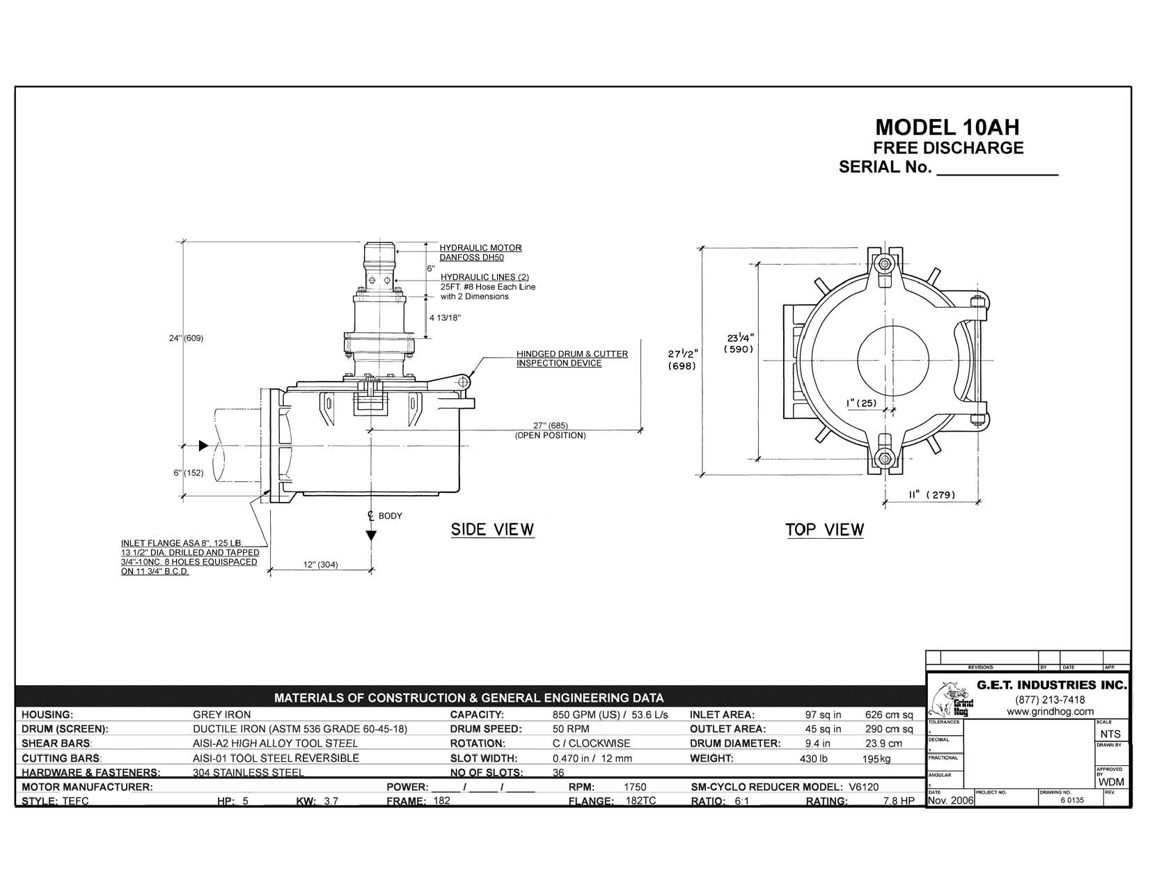 data drawing for Model 10AH