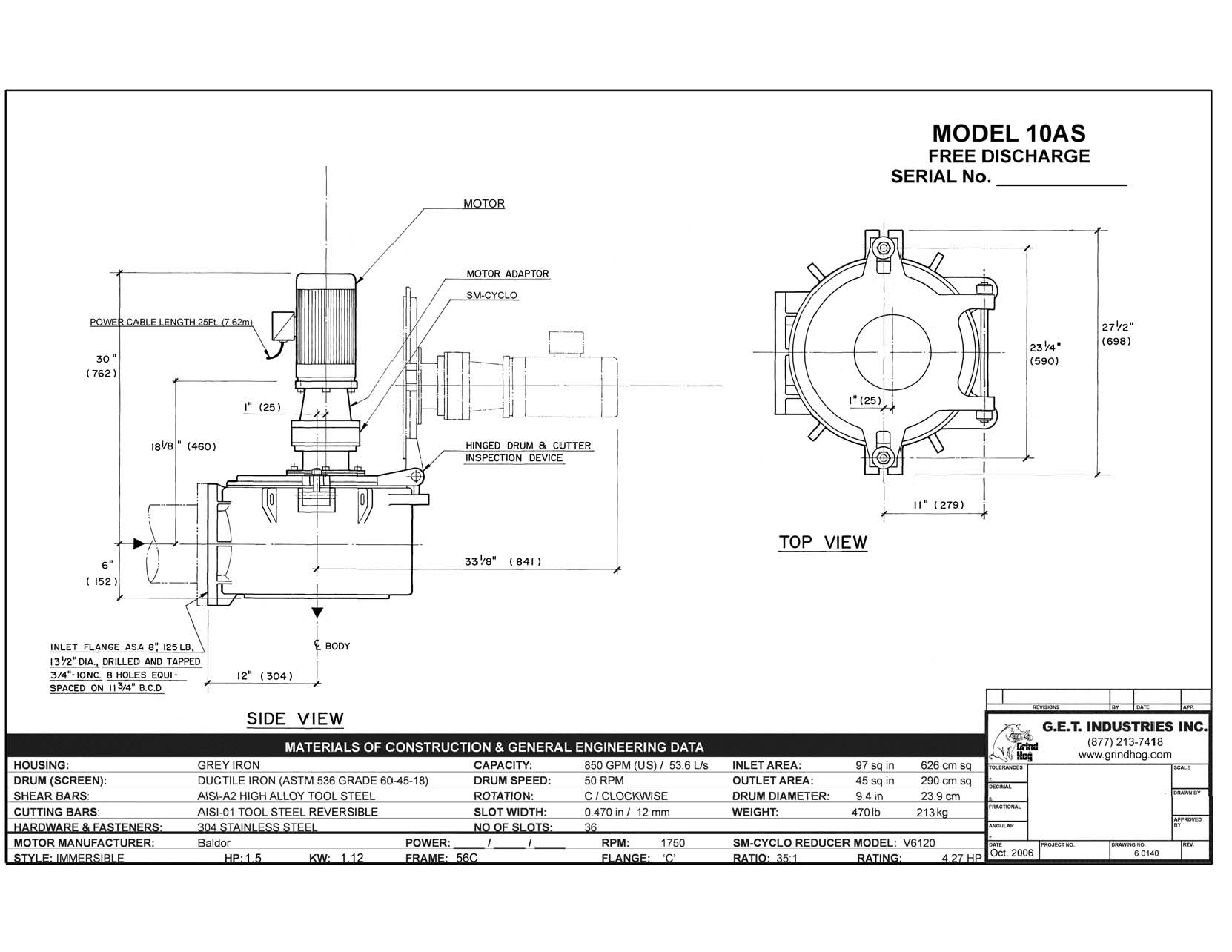 data drawing for Model 10AS