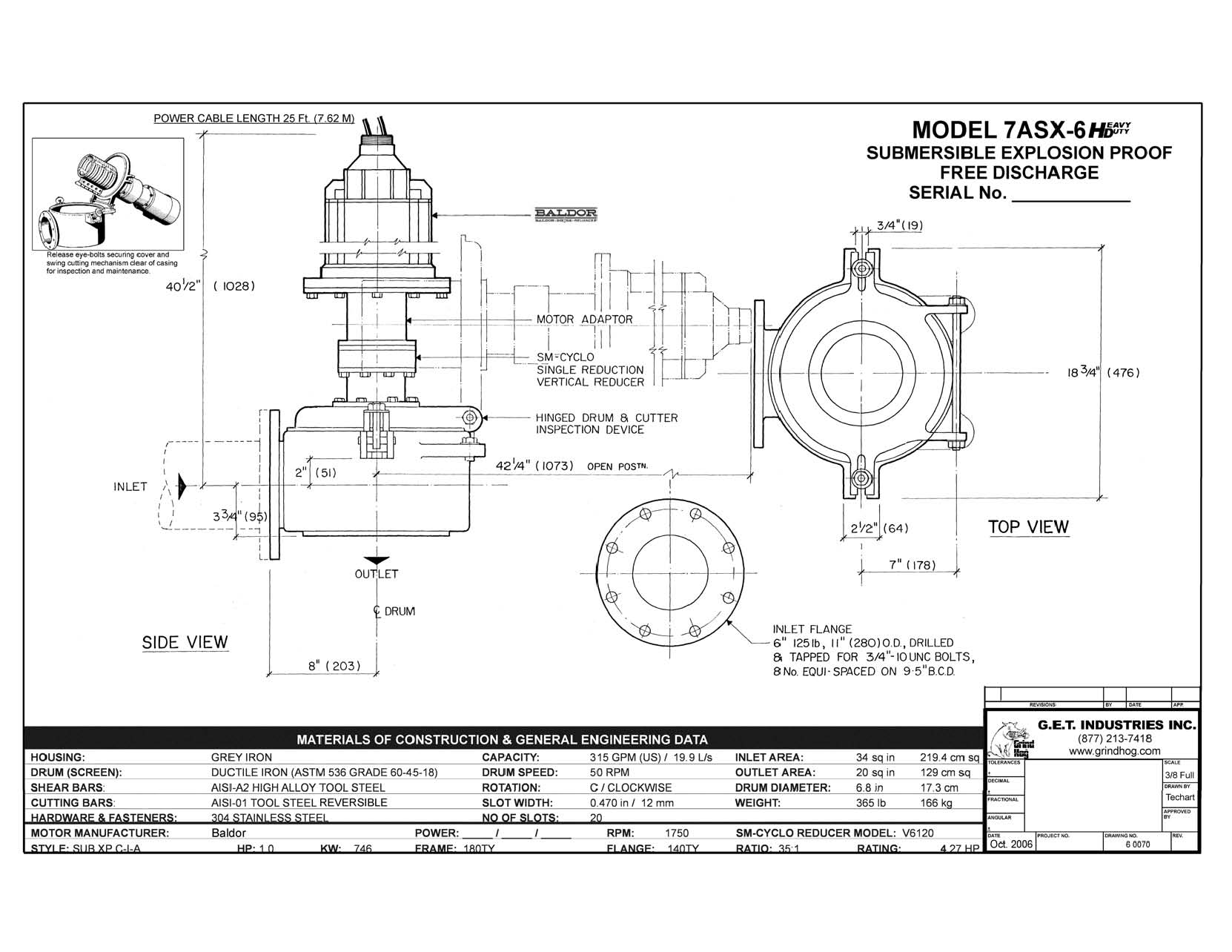 data drawing for Model 7ASX-6