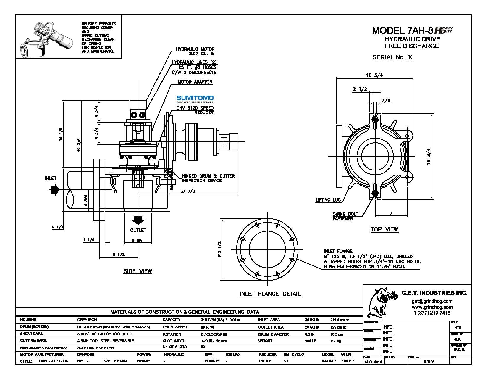 data drawing for Model 7AH-8