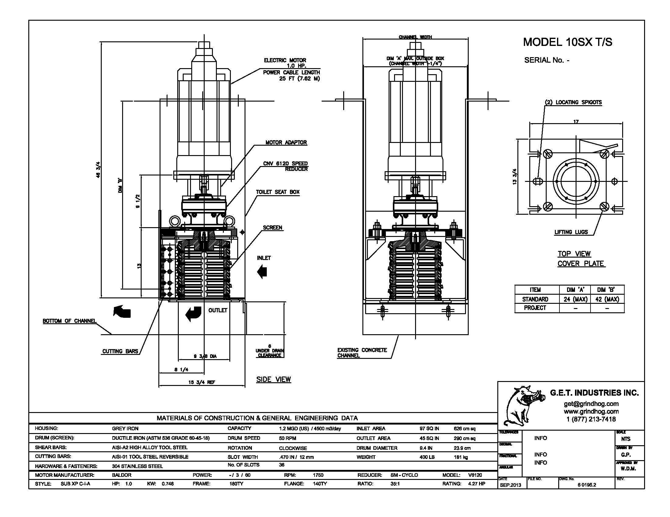 data drawing for Model 10SX T/S