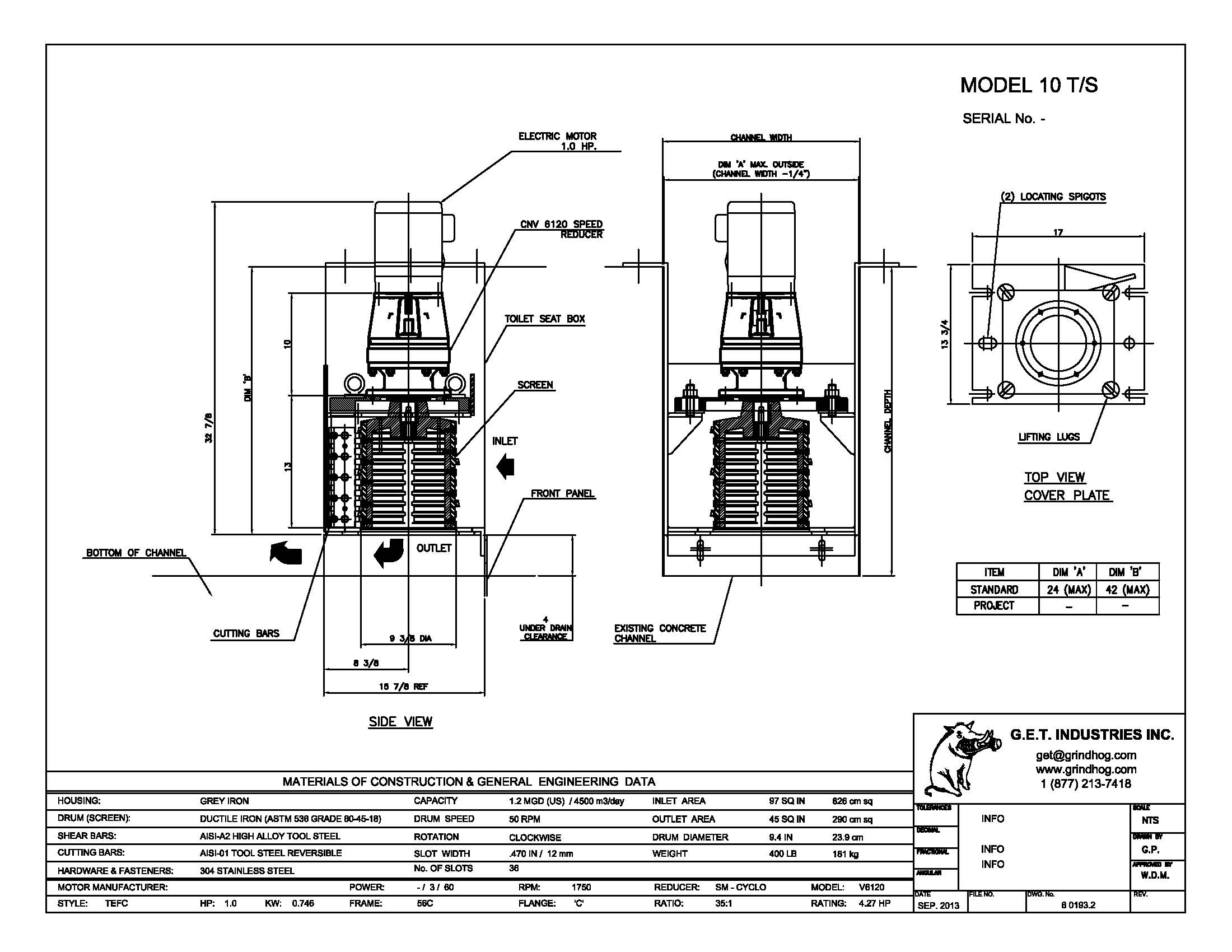 data drawing for Model 10 T/S
