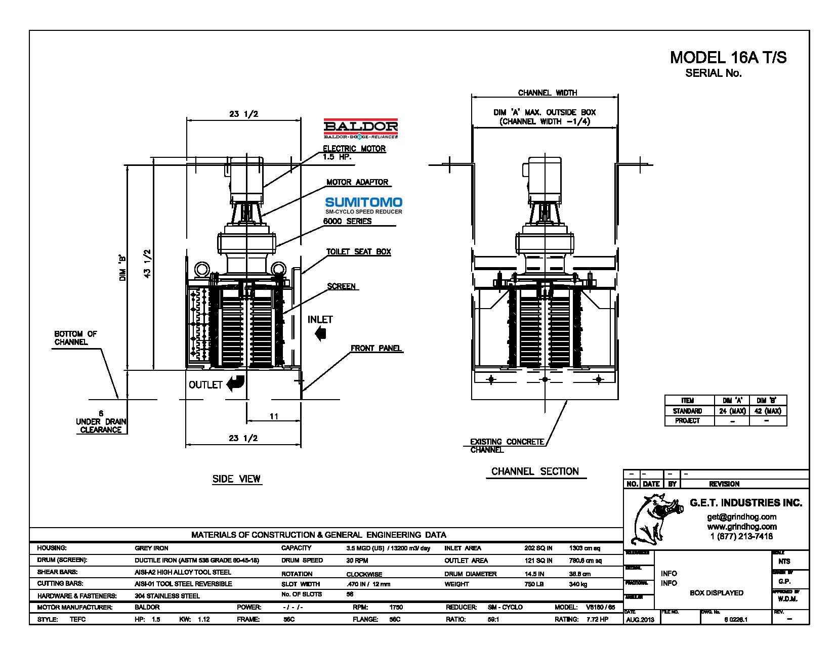 data drawing for Model 16A T/S