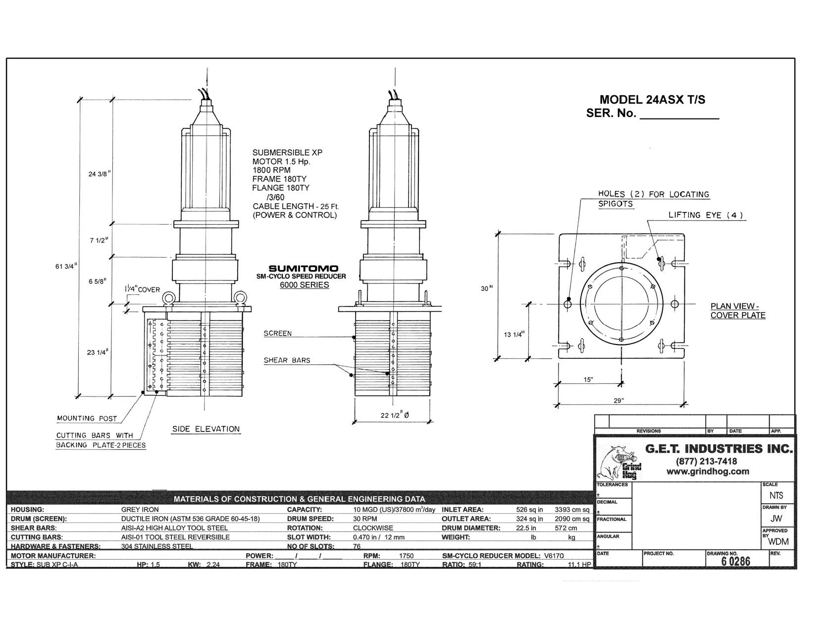 data drawing for Model 24ASX T/S