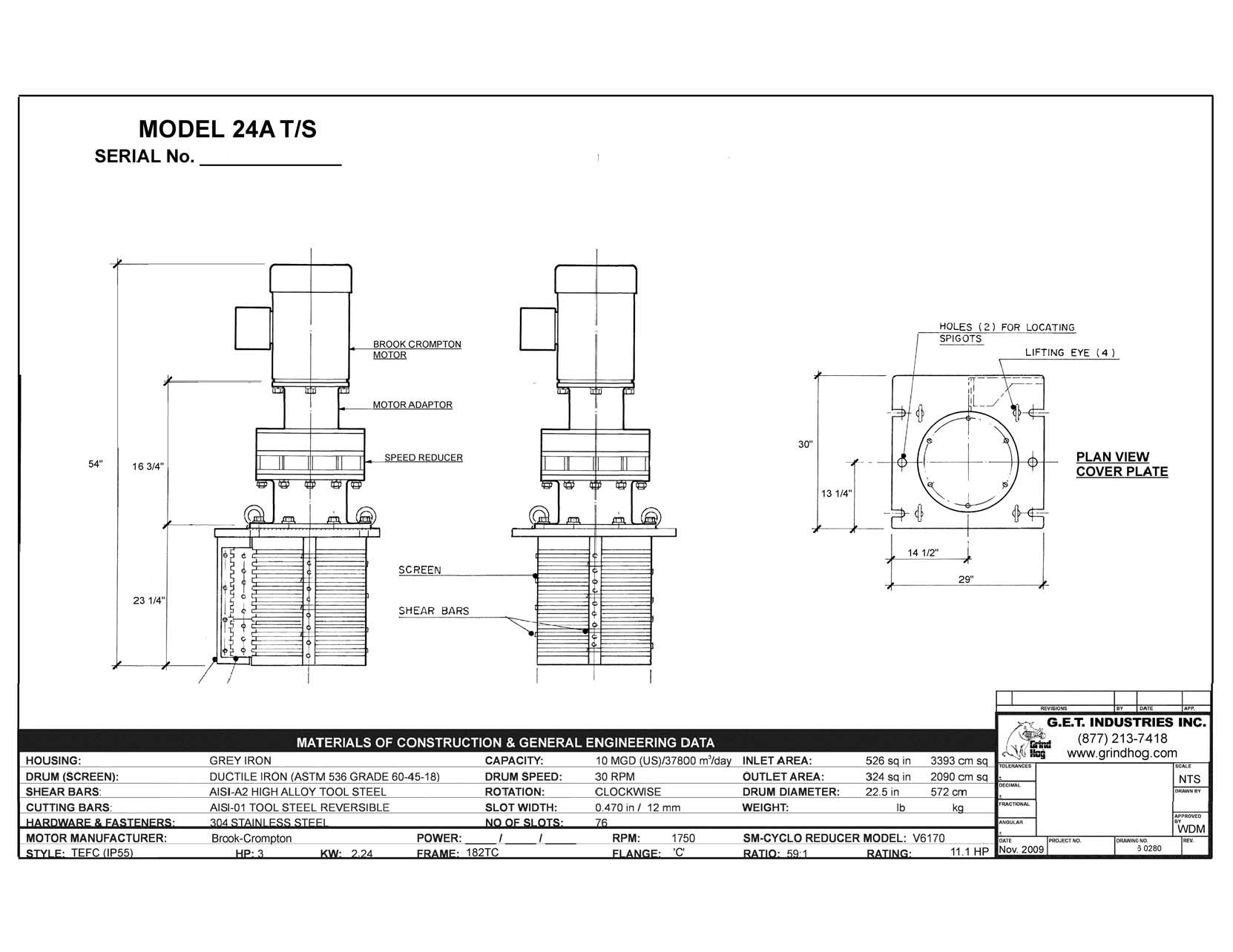 data drawing for Model 24A T/S