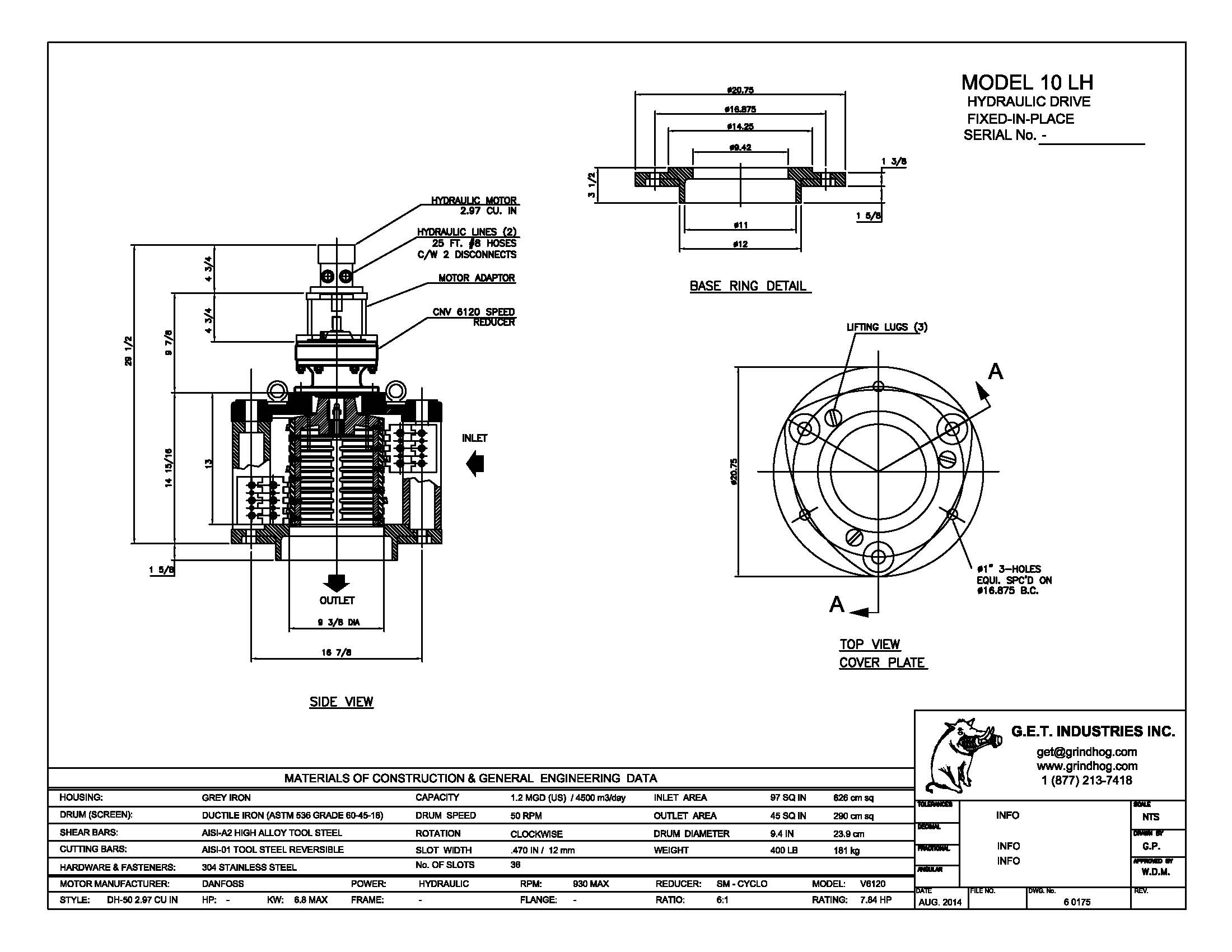data drawing for Model 10LH