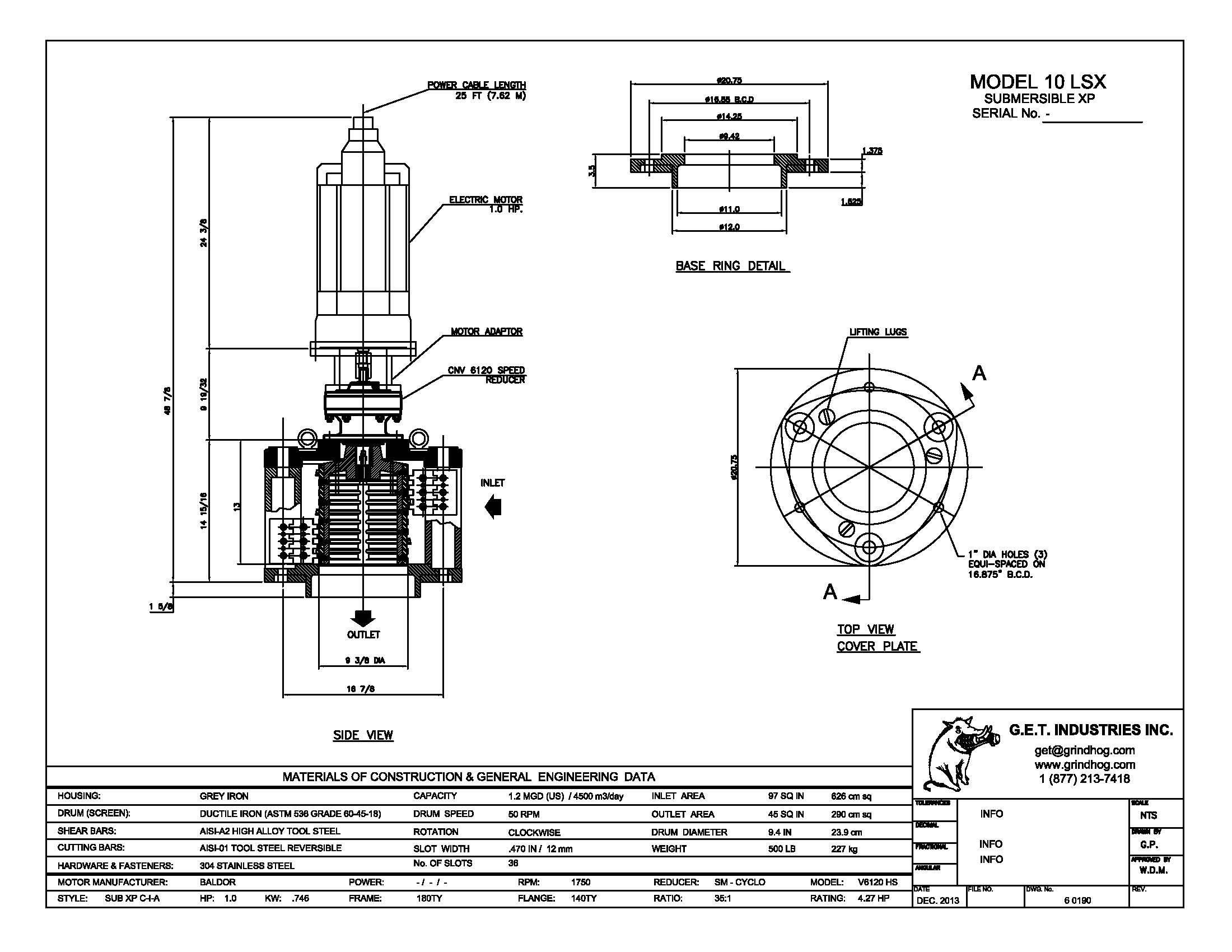 data drawing for Model 10LSX