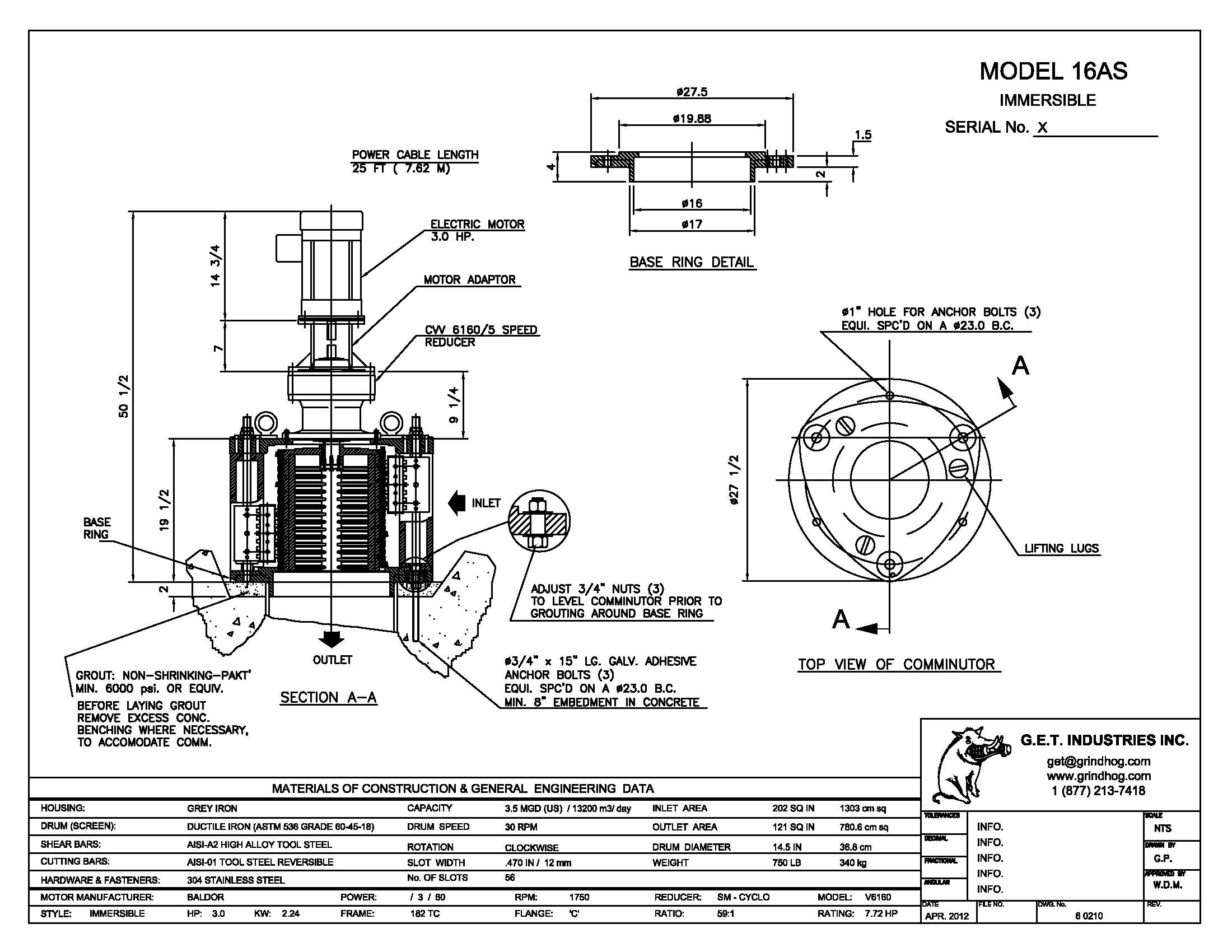 data drawing for Model 16AS