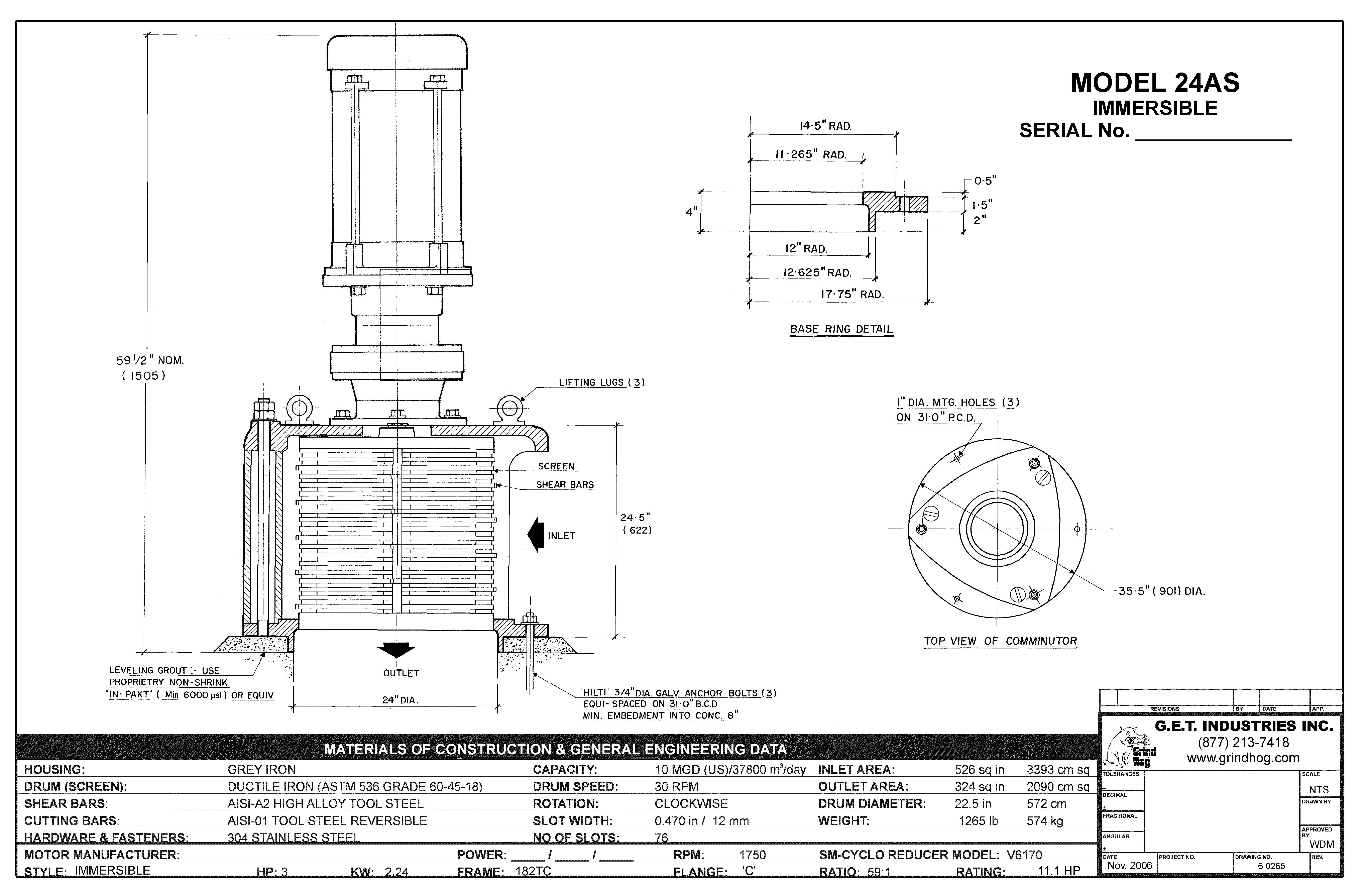 data drawing for Model 24AS