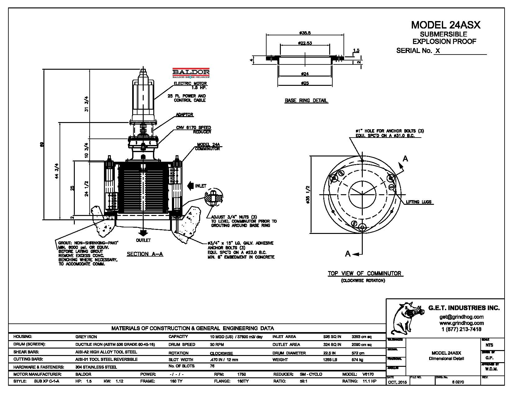data drawing for Model 24ASX
