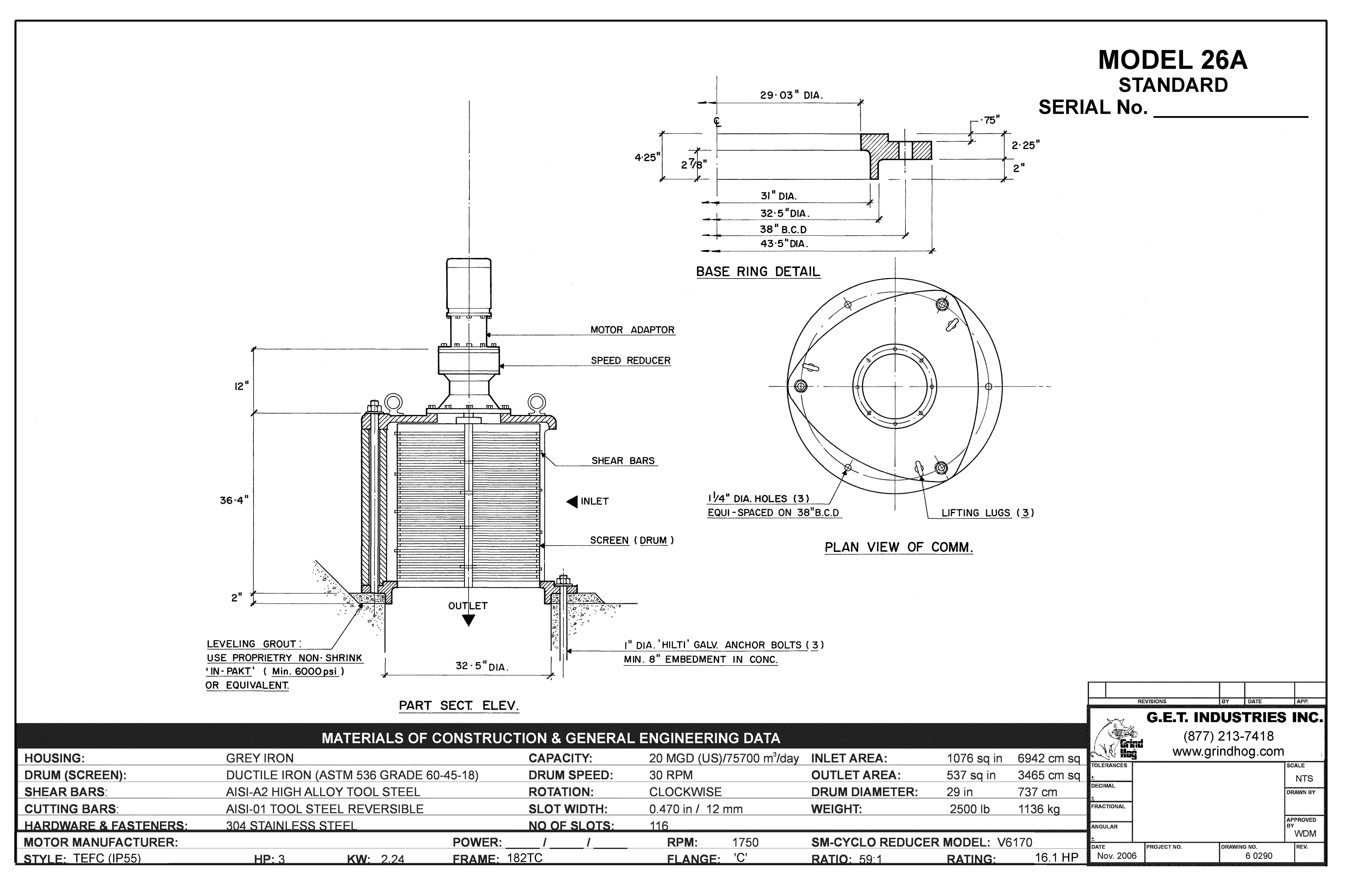 data drawing for Model 26A